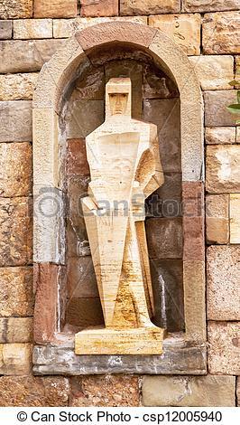 Stock Photo of Saint Ramon Llull Statue by Joseph Maria Subirachs.