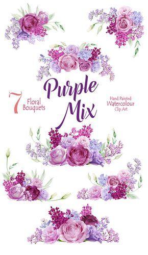 Pintado a mano Purple Mix Clipart, flores de acuarela ramos.