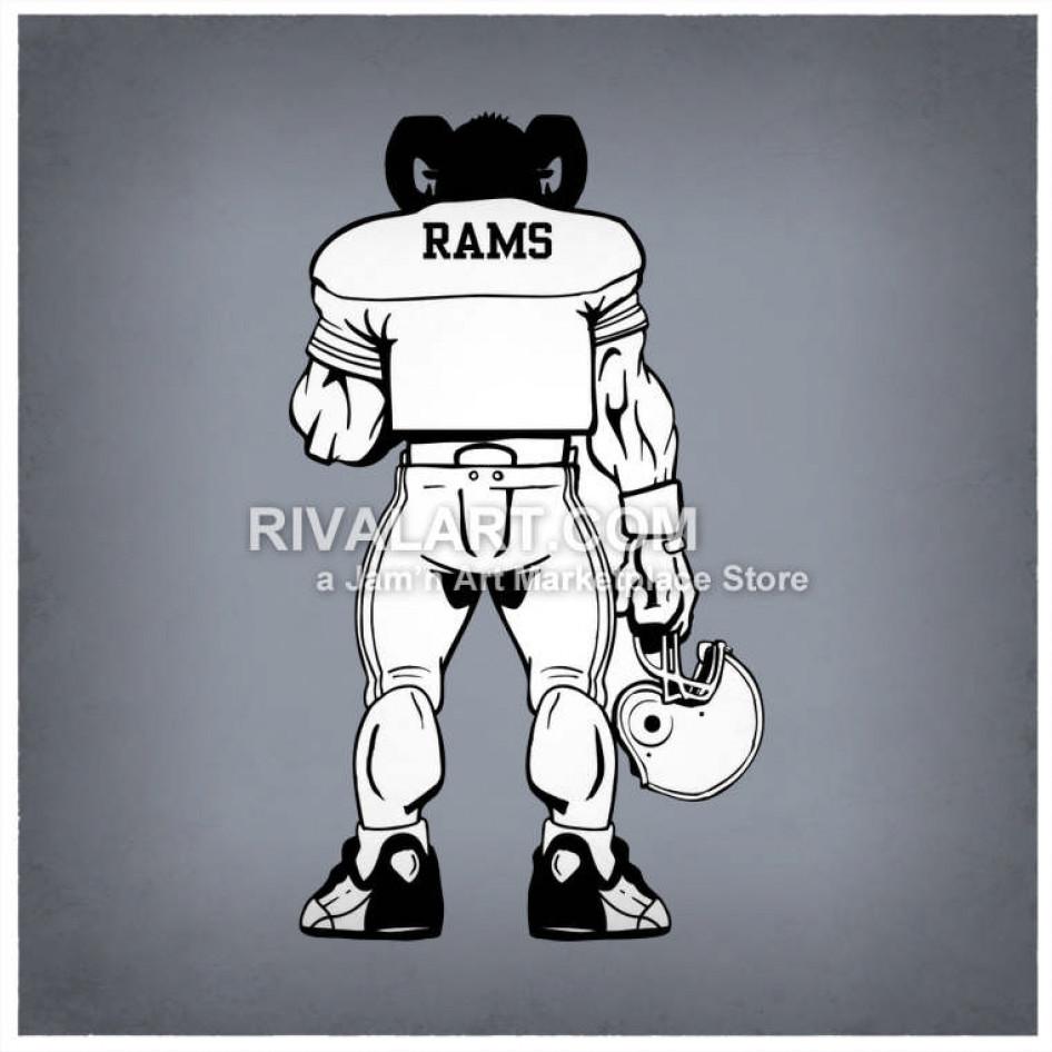 Ram Football Player Holding A Helmet.
