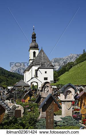 "Stock Photo of ""Cemetery, Parish Church of St. Sebastian, Ramsau."