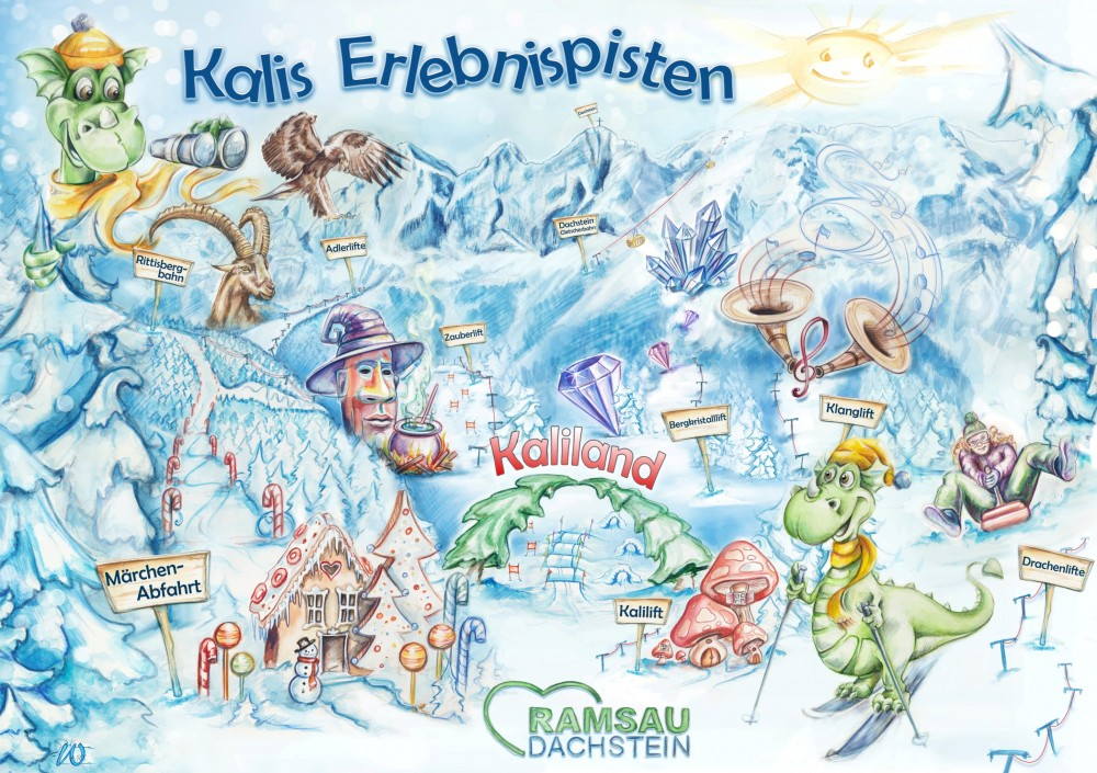 Slopes and Lifts with different fairy story in Ramsau am Dachstein.