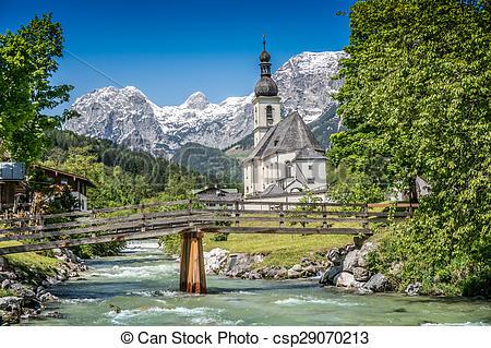 Stock Photography of Ramsau mountain village, Berchtesgadener Land.
