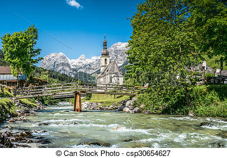 Stock Photo of Ramsau mountain village, Berchtesgadener Land.