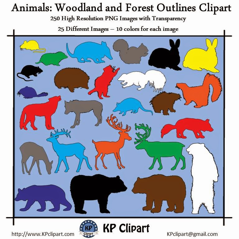 KP Clipart: Animal Outlines.