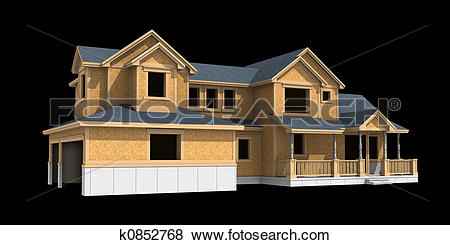 Stock Illustration of 3d model unfinished ranch k0852768.