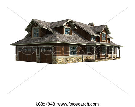 Stock Illustration of 3d model of ranch house k0857948.