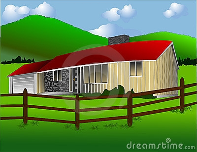Ranch house clipart.