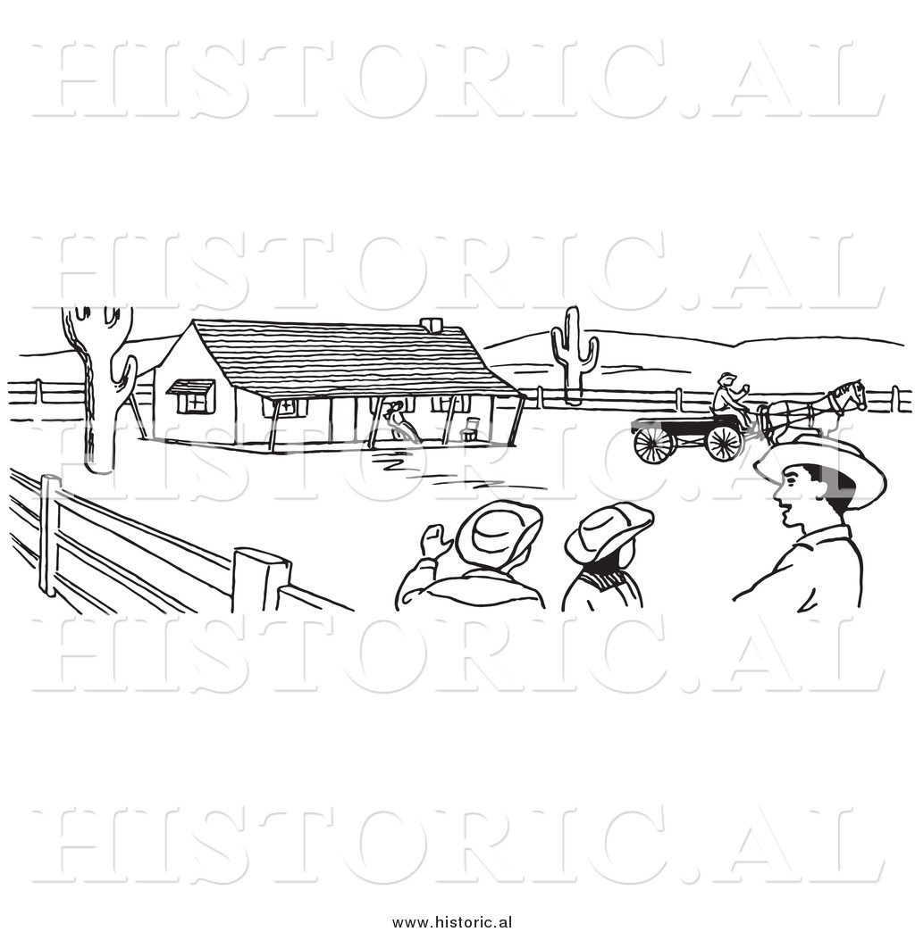 Clipart of Cowboys Talking on a Farm.