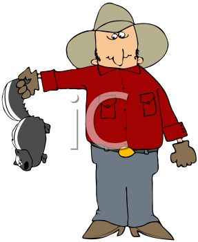 Cartoon of a Rancher Holding a Skunk.