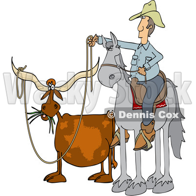 of a Cartoon Male Rancher Cowboy on a Horse, Roping a Texas.