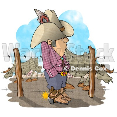 Rancher Man Standing Beside Fenced In Cattle Clipart © Dennis Cox.