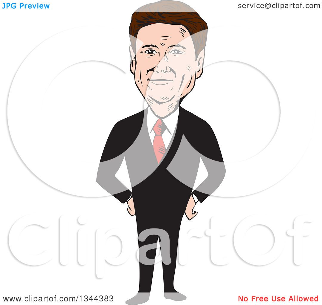Clipart of a Cartoon Caricature of Rand Paul Standing with Hands.