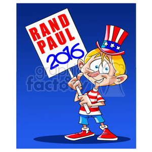 kid holding rand paul 2016 sign 394239 vector clip art image.