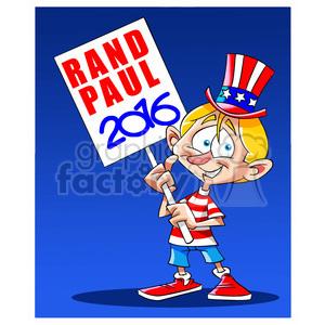 kid holding rand paul 2016 sign 394239 vector clip art image.