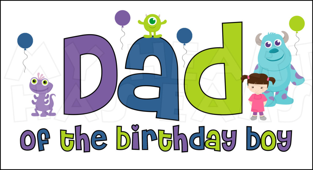 Monsters Inc. Dad of the Birthday Boy INSTANT DOWNLOAD digital.