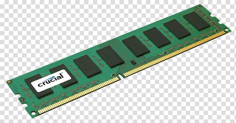 Green Crucial DIMM stick, Computer data storage DDR3 SDRAM.