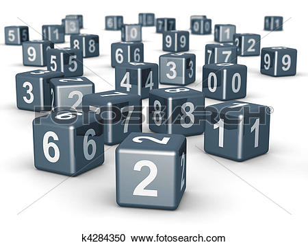 Stock Illustrations of Number cube dice placing randomly k4284350.
