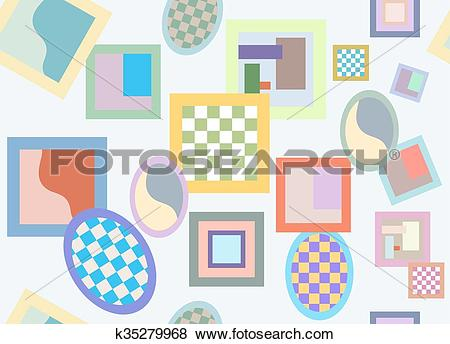 Clip Art of Seamless pattern of randomly scattered varicolored.