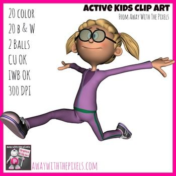 Active Kids Clip Art Set.