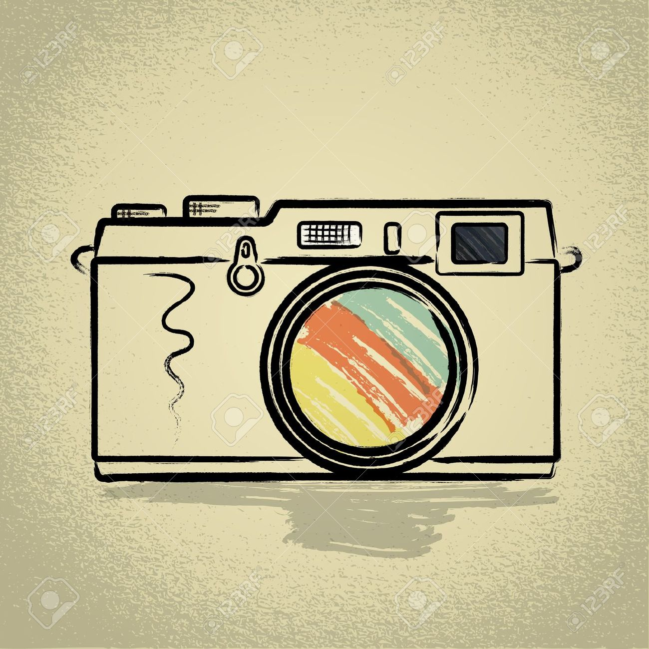 Rangefinder Camera Illustration With Brushwork Royalty Free.