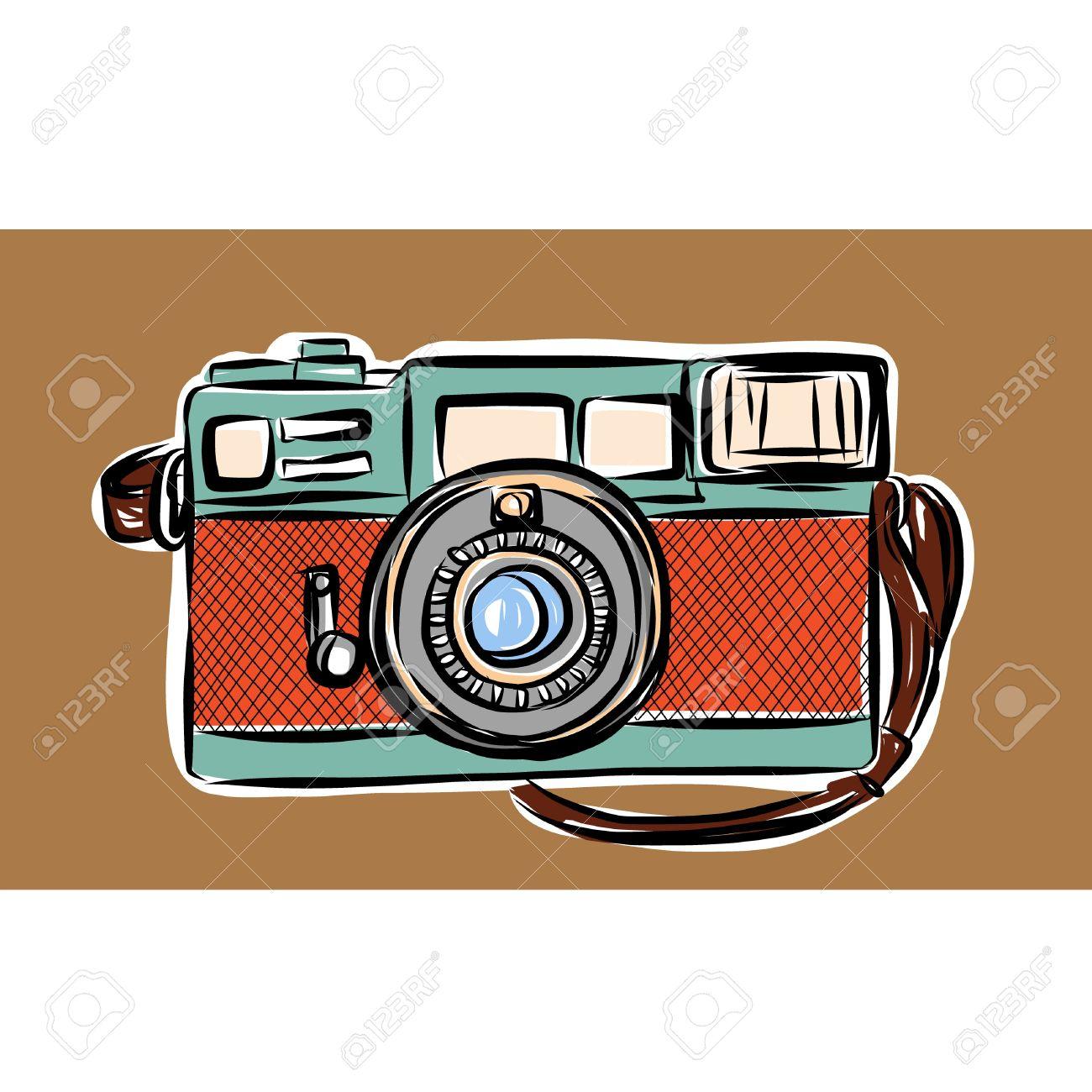 Rangefinder Camera Vector Sketchbook Royalty Free Cliparts.