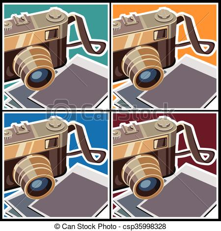 Vector Illustration of retro rangefinder camera.