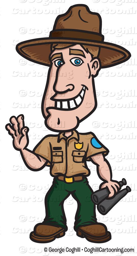 Cartoon Park Ranger Clip Art Stock Illustration.