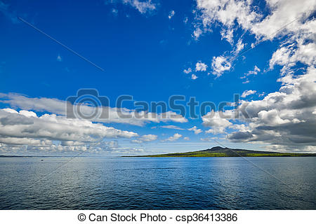 Pictures of Volcanic island of Rangitoto in New Zealand seen.