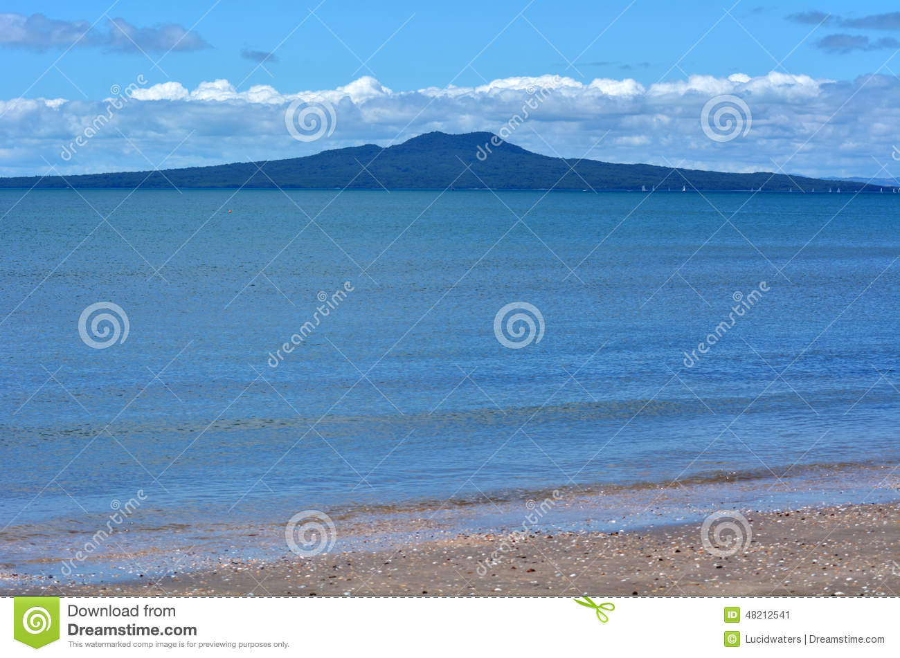 Rangitoto Island Landscape New Zealand Stock Photo.