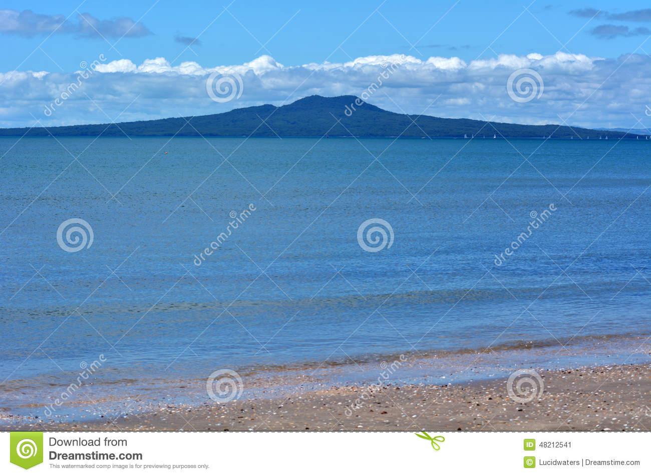 Rangitoto Island Landscape New Zealand Stock Photo.