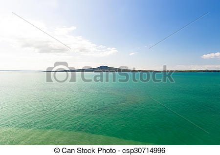 Stock Photographs of Rangitoto Island view from Mission Bay in.