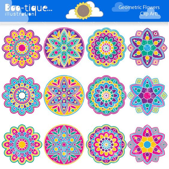 Geometric Flowers Clipart set for Instant Download includes 12.
