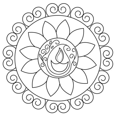 Diwali Rangoli coloring page.