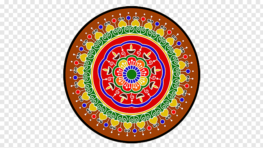 Multicolored floral ilkustration, Rangoli Diwali Kolam.