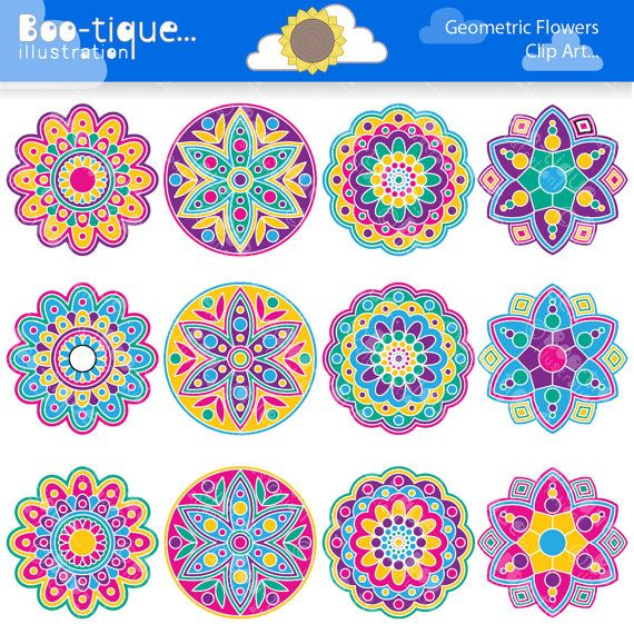 Geometric Flowers Clipart set for Instant Download includes.