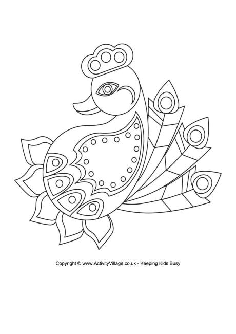 RANGOLI: Here's a lovely rangoli colouring page in the shape of a.