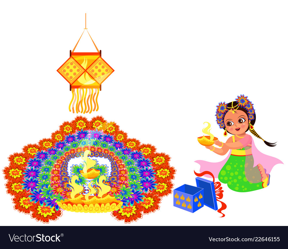 Diwali holiday with girl putting flame to rangoli.