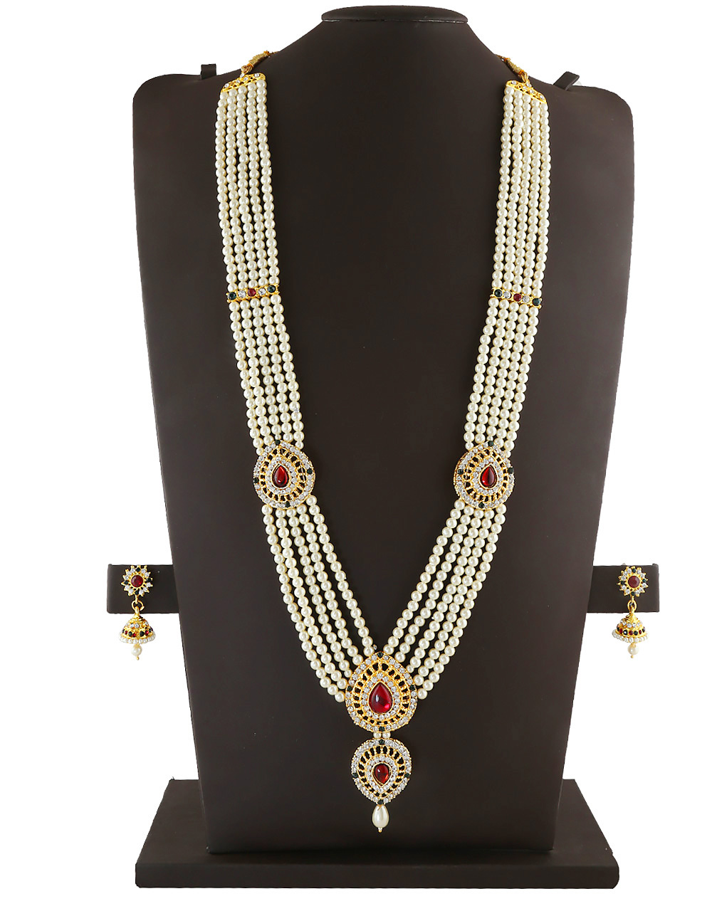 Temple Moti Haar Necklace For Mahalakshmi Sajavat Combo Set.