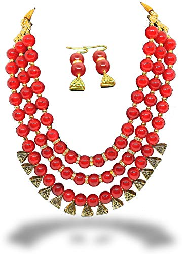 LACUM 3 Layers Pearl Rani Haar Necklace Earring Sets for.