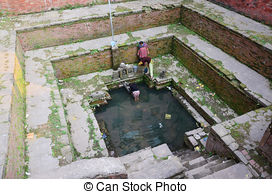 Stock Photographs of Rani Pokhari Pond landmark in Kathmandu.