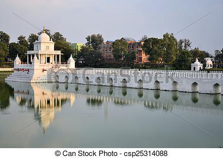 Pictures of Rani Pokhari Pond landmark in Kathmandu, Nepal.