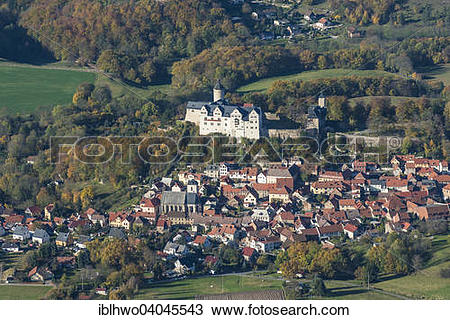 """Stock Photo of """"Aerial view, city view and Ranis Castle, Ranis."""