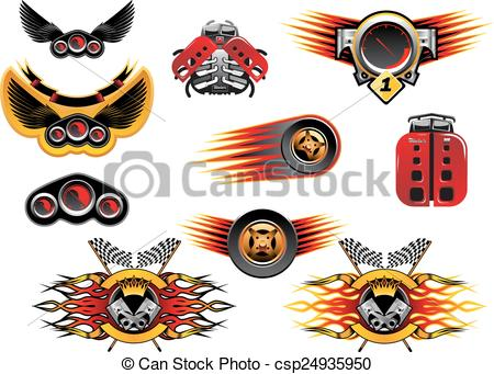 Clipart Vector of Colorful motor sport and racing icons with.