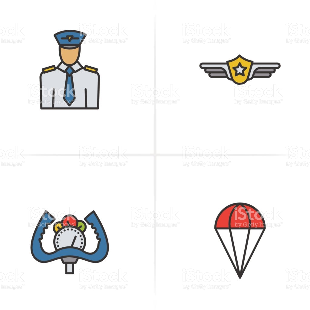 Pilot Color Icons Set Pilot Label Aircraft Control Wheel Parachute.