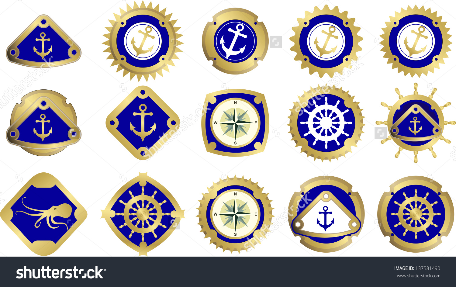 Marine Signs Pictograms Nautical Theme Anchors Stock Vector.