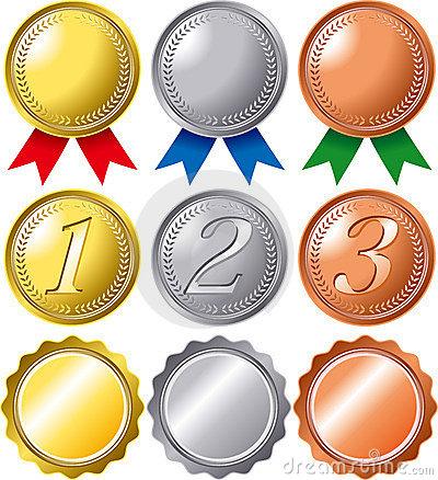 Ranking Medal Set Stock Illustrations.