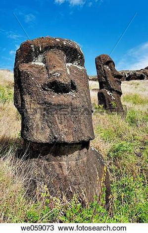 Stock Photo of Chile, Easter Island, Rapa Nui, moai heads on the.