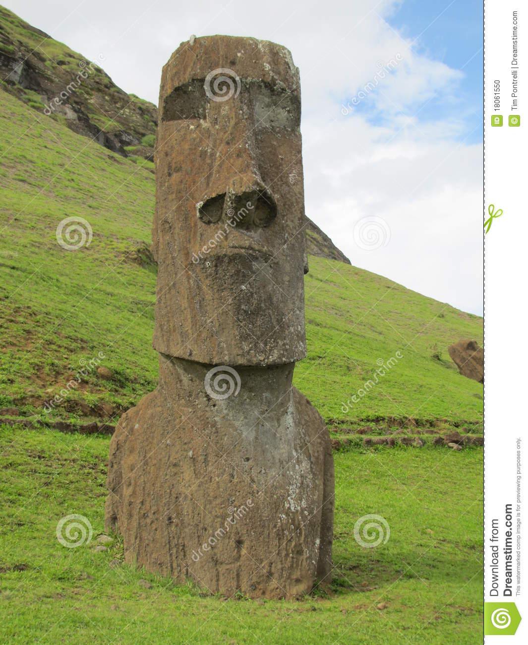 Easter Island Rapa Nui Moai At Rano Raraku Stock Photo.