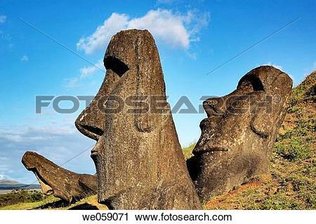 Stock Photography of Chile, Easter Island, Rapa Nui, moai heads on.