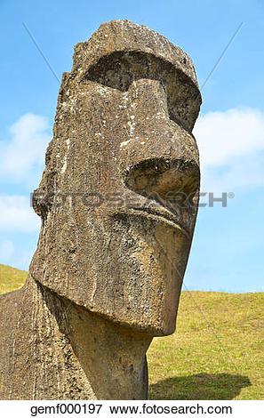 "Picture of ""Chile, Easter Island, Moai stone head in Rano Raraku."